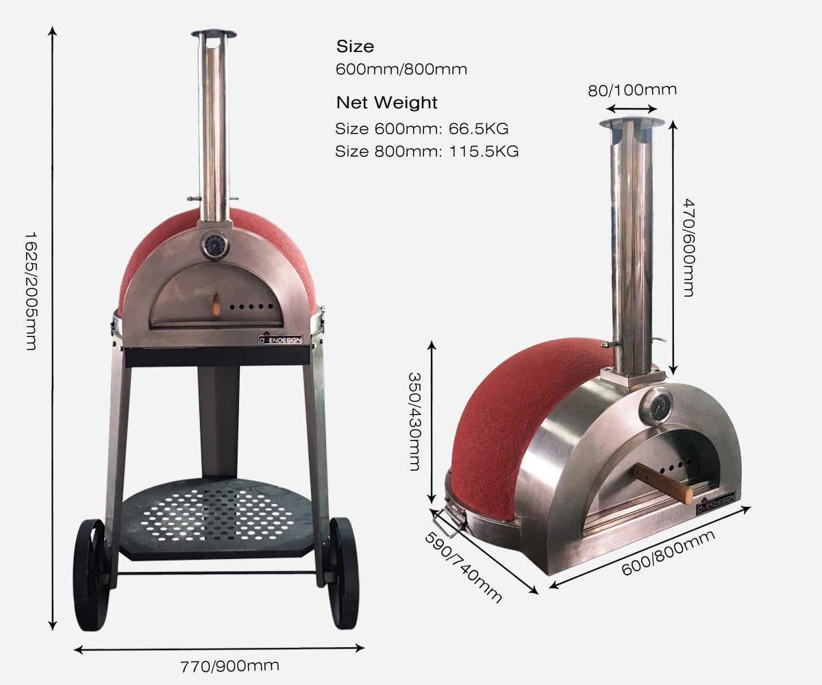 The NO1 designerWood Fire pizza oven size