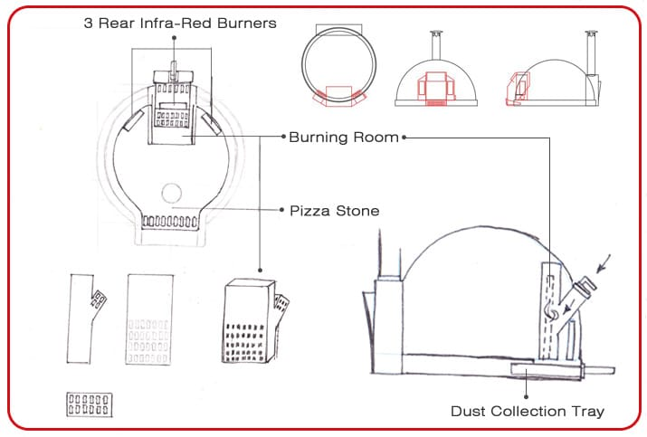 Wood and Infra-Red Burners Dual-use Pizza Oven design