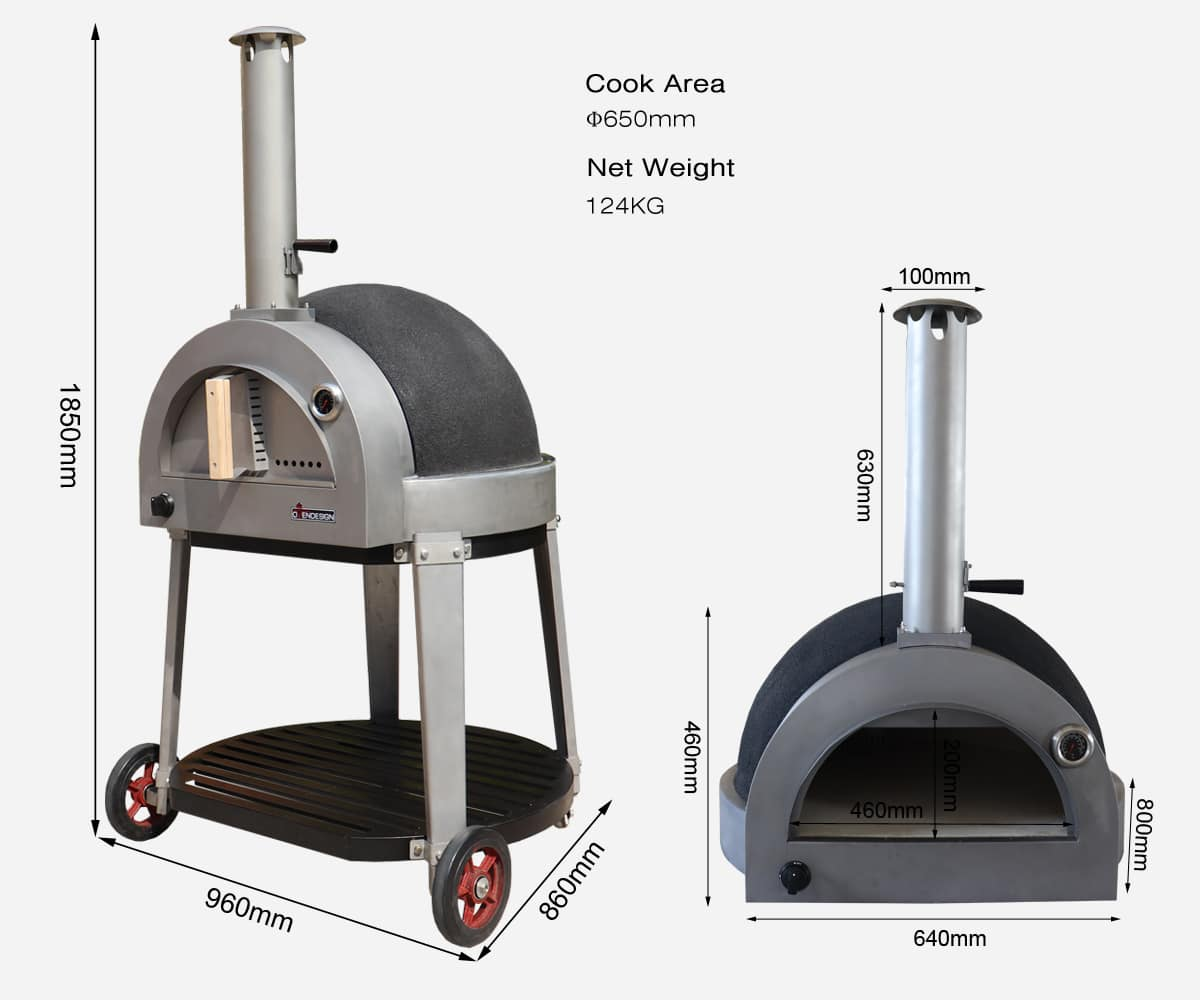 gas clay pizza oven-size